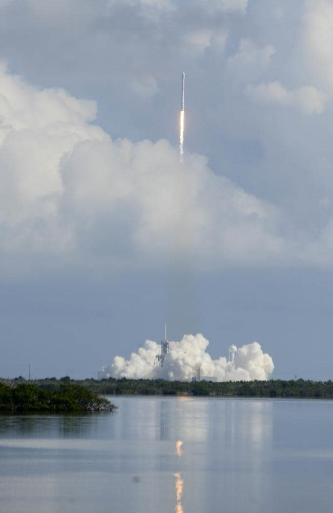 A SpaceX unmanned Falcon rocket launches from Florida's Kennedy Space Center. Picture: AP