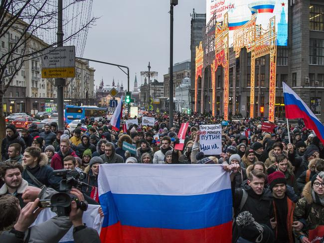 Opposition supporters at a rally in Moscow last week. Picture: AP