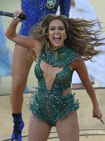 US singer Jennifer Lopez gestures as she takes part in the opening ceremony of the 2014 FIFA World Cup at the Corinthians Arena in Sao Paulo on June 12, 2014, prior to the opening Group A football match between Brazil and Croatia. AFP PHOTO / PEDRO UGARTE