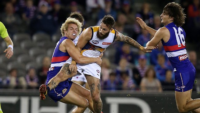 Western Bulldogs v West Coast at Etihad Stadium, West Coast Eagle's Chris Masten injured after being tackled by Western Bulldog's Mitch Wallis Picture: Salpigtidis George