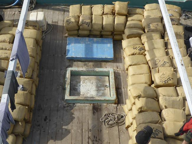 Loads found ... Over six tonnes of hashish was found concealed by HMAS Darwin's boarding party team.