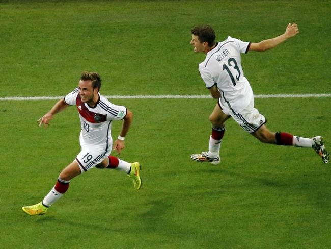 Germany's Mario Goetze, left, celebrates after scoring the winner in the 2014 World Cup final.