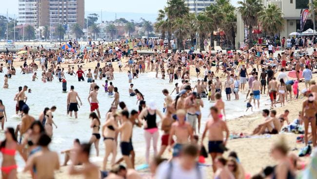 Thousands are expected to hit St Kilda beach this Australia Day. Picture: Alex Coppel.