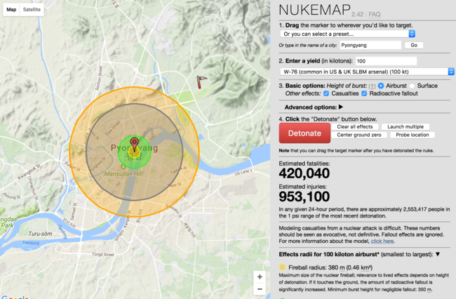 Be warned: Nukemap is addictive (and obviously a bit scary). Picture: Nukemap