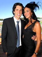 <p>Happy together ... Andy Lee and Megan Gale during 2008 Doncaster Day at Royal Randwick in Sydney.</p>