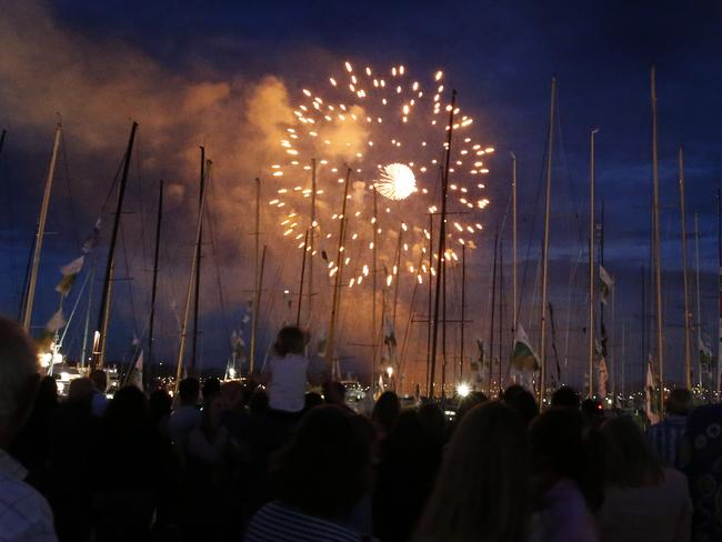 Understated beauty ... families flocked to the waterfront in Hobart to see the fireworks. Picture: Supplied