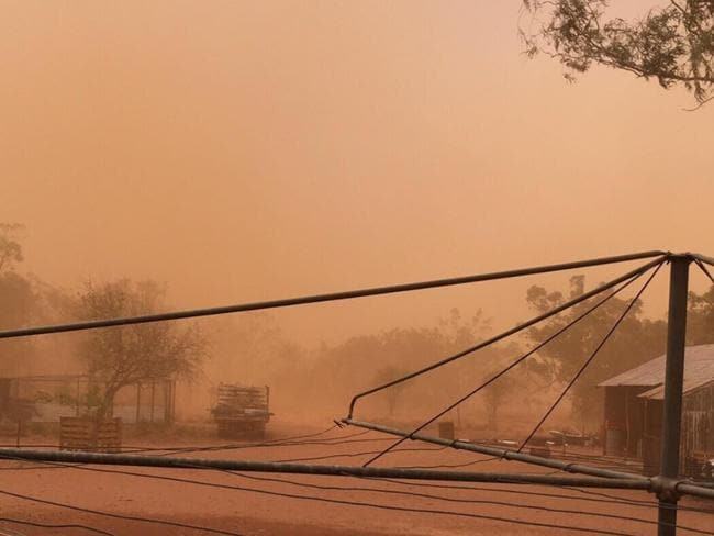 A dust storm pass a property in Linden near Cunnamulla. Picture: Instagram