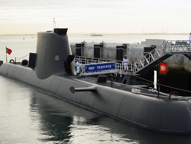 New offering ... and HDW Class 214 submarine at the Lisbon Naval Base. The Type 214 is a diesel-electric submarine developed by Howaldtswerke-Deutsche Werft. Picture: Supplied