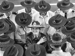 Constable Kellie Gooden and her fellow officers from the Russell St police station sport the sun-smart wide-brimmed hat, introduced in November 1991. Picture: HWT library