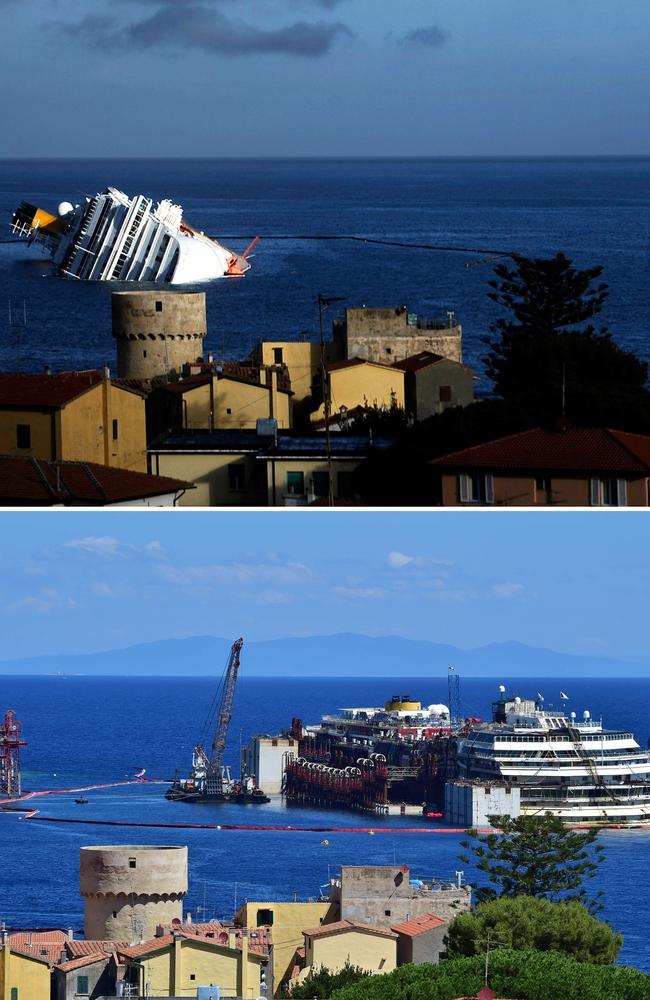 Then and now: The wreck of the Costa Concordia cruise ship on January 23, 2012 (top) and on July 15, 2014 after being refloated.