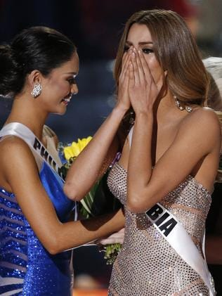 Miss Colombia reacts as the announcer incorrectly names her. Picture: AP
