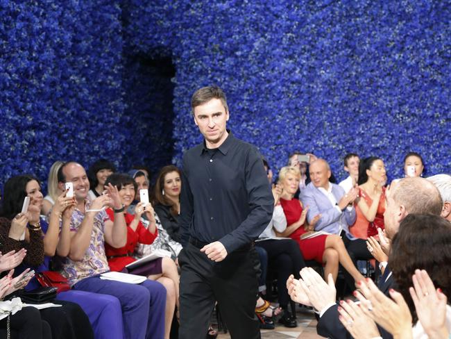 Raf Simons at the end of his first show for Christian Dior in 2012, which Dior and I is centred on.