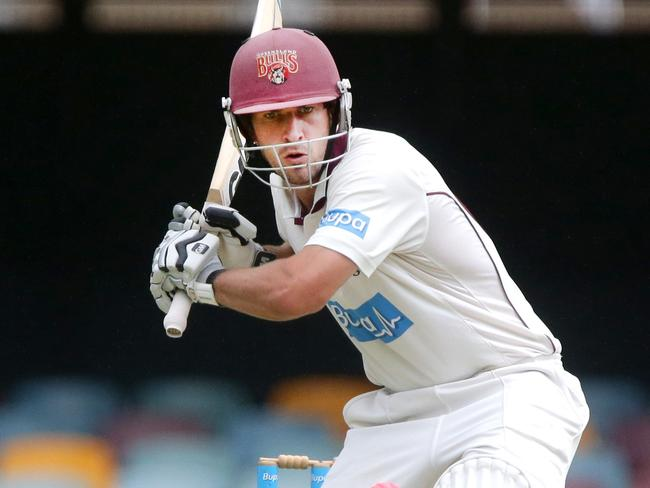 Joe Burns belted a century in the practice match against Australia. Picture: Jono Searle.