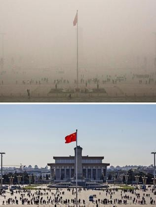 Before and after: Tiananmen Square on December 1 and 2. Kevin Frayer.