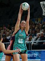Vixens GS Karyn Bailey grabs the ball in front of her Firebirds opponent. Picture: Norm Oorloff
