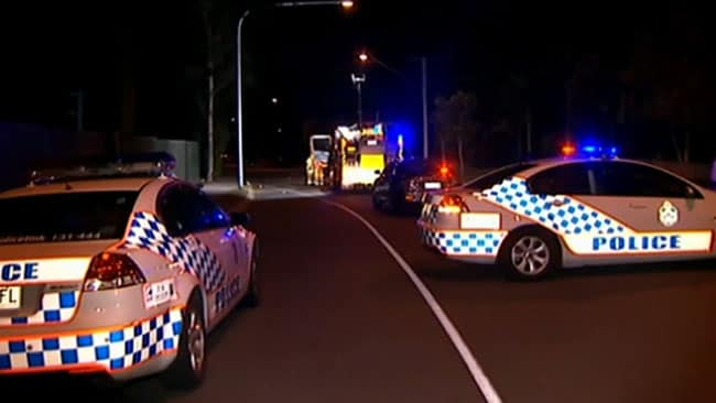 Emergency services on the scene of a hit and run during a brawl at Woodridge. Picture: Sky News
