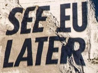 Brexit ... The Sun project their front page on the White Cliffs of Dover. Picture: NEWS GROUP NEWSPAPERS LTD