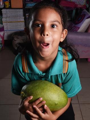 Kiril Tipo, 5, with some very large Pineapple Mangoes which her parents picked from a tree in Adelaide River. PICTURE: Helen Orr