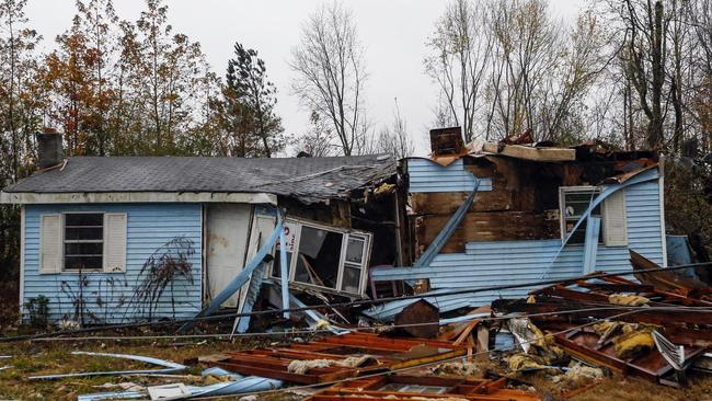 A house is damaged by a tornado that ripped through the town of Rosalie, Alabama. Picture: AP