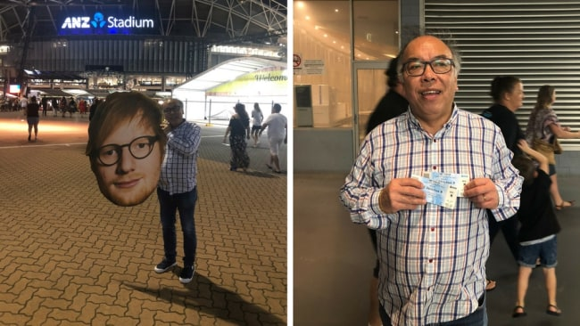 Dad with the Ed Sheeran cut-out and his tickets. Photo: Supplied/HRY