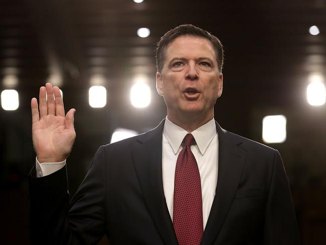 Former FBI director James Comey is sworn in while testifying before the Senate Intelligence Committee. Picture: Chip Somodevilla/Getty Images/AFP