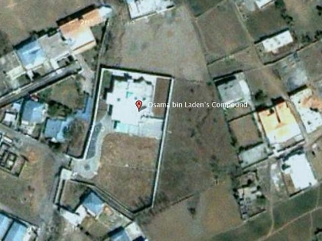 Image taken from the internet site 'Google Earth' of the location pin attached to the compound where Al-Qaeda leader Osama bin Laden has been hiding in Abbottabad.