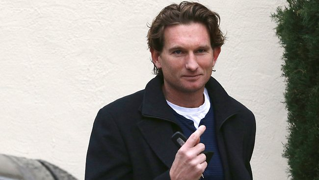 James Hird talks to the media outside his Toorak house this morning. Picture: Wayne Ludbey