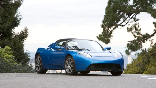 A US-made Tesla Roadster electric vehicle.