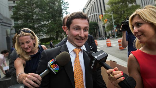 Former Goldman Sachs trader Fabrice Tourre leaves Federal Court after the first day of a lawsuit being brought against him by the Security and Exchange Commission. Picture: Andrew Burton/Getty Images/AFP.