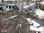 Boats that sunk in the wake of Hurricane Harvey are surrounded by floating debris Sunday, Aug. 27, 2017, in Rockport, Texas. Picture: AP Photo/Eric Gay