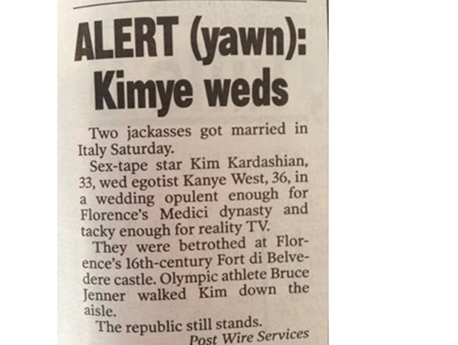 The New York Post just goes for it.