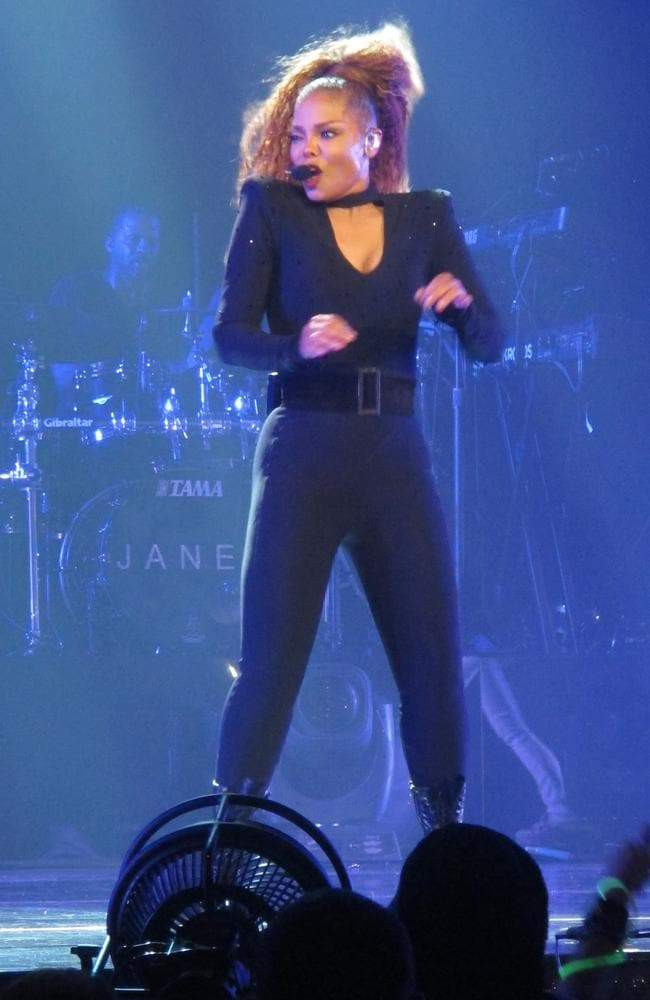 Janet Jackson stole the stage in a variety of tight outfits after giving birth several months ago. Picture: Splash.