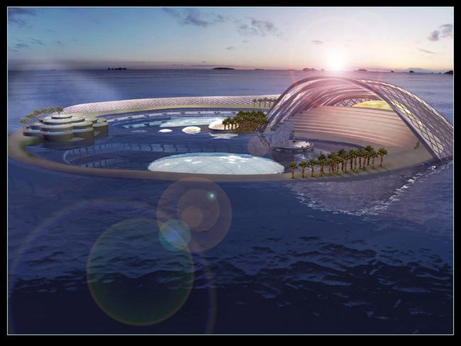 The underwater Hydropolis Hotel was planned to be built off Dubai, United Arab Emirates, but the project never started.