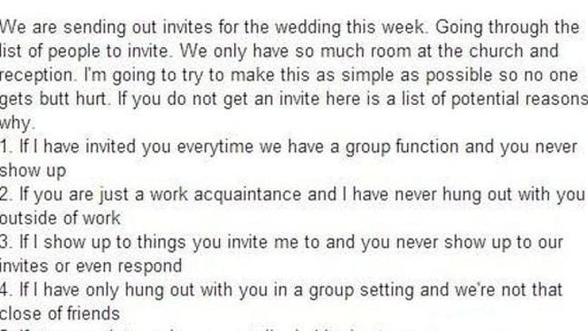 Facebook post ... anyone who is hoping to get an invite to this wedding faces an uphill battle.