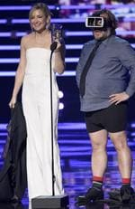 Jack Black, left, and Kate Hudson arrive at the People's Choice Awards 2016, in Los Angeles. Picture: Jordan Strauss/Invision/AP
