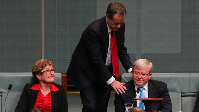 Bill Shorten with Kevin Rudd after the former Prime Minister resigned in the House of Representatives. Picture: Kym Smith