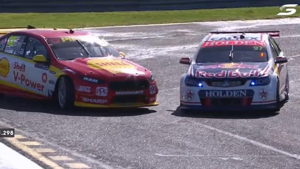 Fabian Coulthard and Shane van Gisbergen collide during Sandown 500 Practice 4.