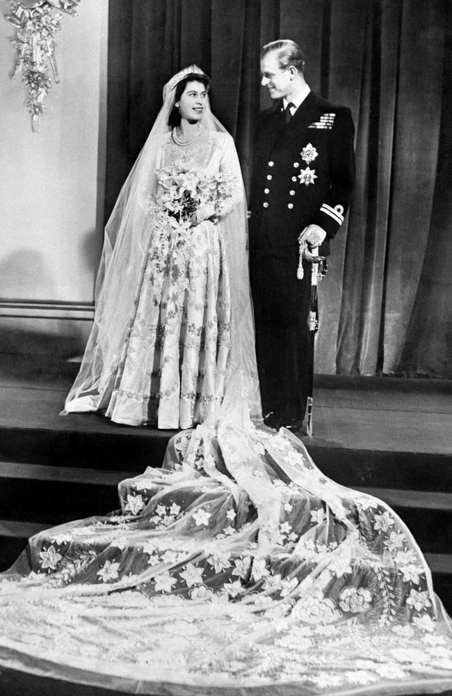 The couple on their wedding day on November 20 1947 at Buckingham Palace. Picture: AFP