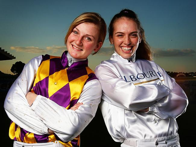 Jamie Kah and Kayla Nisbet before their debut Group 1 appearances, where Sistine Demon disappointed for Kah in the Goodwood Handicap. Picture: Tim Carrafa.
