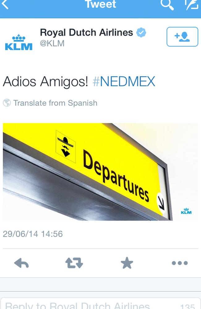 A screenshot of the KLM twitter account shows a tweet that appeared shortly after the Netherlands defeated Mexico in the World Cup in Brazil. Photo: KLM Twitter account