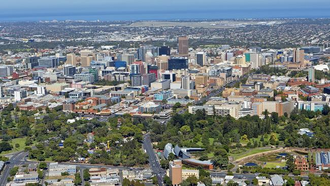 Adelaides CBD surrounded by parkland.