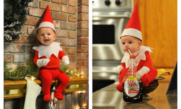 Dad creates ADORABLE real version of Elf on the shelf with four-month-old son