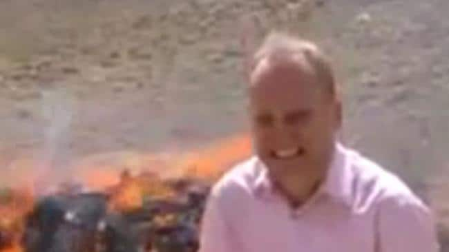But it's all too much ... the BBC reporter giggles uncontrollably as he is overcome by the drug fumes.