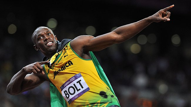 Jamaica's Usain Bolt celebrates winning the Men's 100m final at the London Olympics.