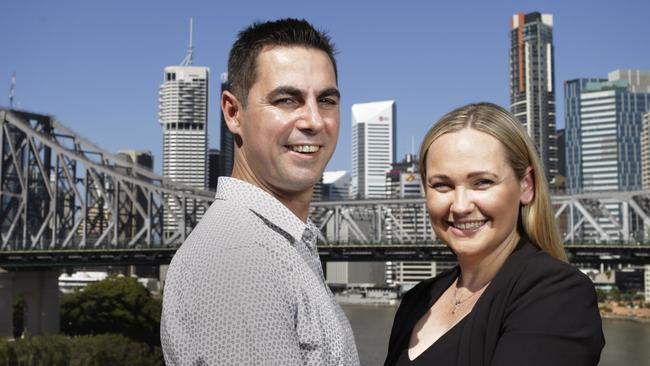 Brisbane couple Matt and Lauren Gellweiler live in Holland Park after Matt won the battle to stay on his beloved south side. Lauren grew up in the north. Picture: AAP/Megan Slade