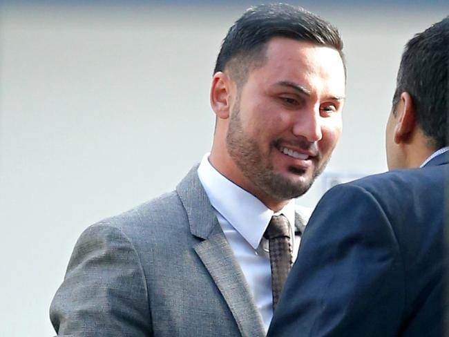 Mehajer was all smiles before court this morning. Picture: John Grainger