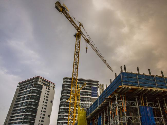 File picture of apartments under construction in Newstead, Brisbane. A slow down in building and construction projects in Queensland is to blame for a series of high-profile building collapses. Picture: Glenn Hunt/The Australian