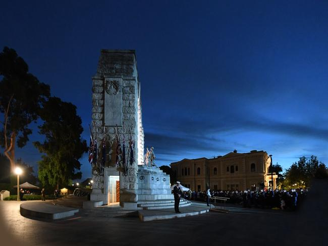 The dawn service at the SA National War Memorial at North Terrace. Picture: Tricia Watkinson