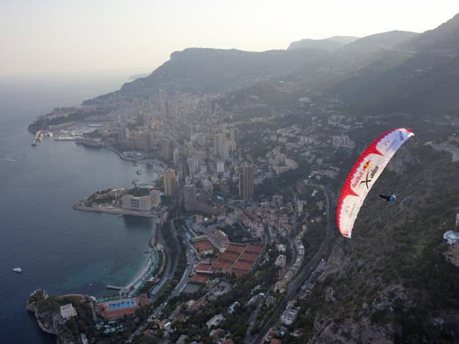 Competitors will use a paraglider to get from mountain to mountain. Picture: Courtesy of Red Bull