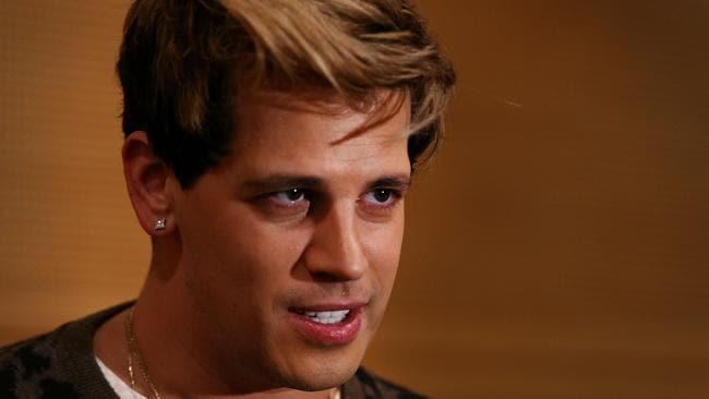 Milo Yiannopoulos speaks to journalists yesterday. Photo: Getty Images